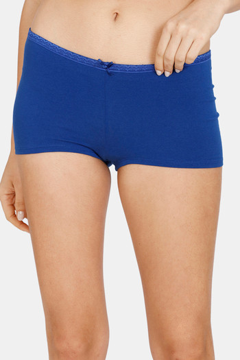 model image of Zivame Mid Rise Full Coverage Antimicrobial Boy Short Panty -Sodalite Blue