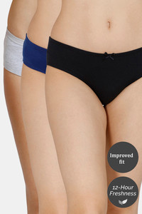 Buy Zivame (Pack of 3) Hipster Low Rise Anti-Microbial Panty - Anthracite Blue Grey