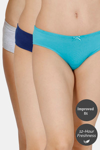 Buy Zivame (Pack of 3) Hipster Low Rise Anti-Microbial Panty - Blue Grey Ceramic