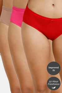 Buy Zivame (Pack of 3) Hipster Low Rise Anti-Microbial Panty - Pink Cherry Roebuck