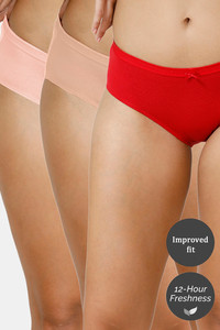 Buy Zivame (Pack of 3) Hipster Low Rise Anti-Microbial Panty - Red Peach Roebuck