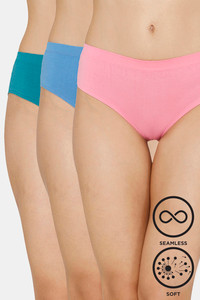 Buy Zivame (Pack of 3) Super Soft Hipster Mid Rise Panty - Glory Pacific Blue