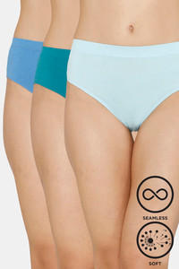 Buy Zivame (Pack of 3) Super Soft Hipster Mid Rise Panty - Plume Blue Pacific