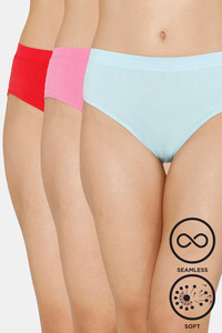 Buy Zivame (Pack of 3) Super Soft Hipster Mid Rise Panty - Plume Glory Red