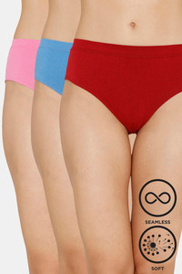 Buy Zivame (Pack of 3) Super Soft Hipster Mid Rise Panty - Tomato Pacific Glory
