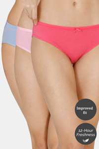 Buy Zivame (Pack of 3) Hipster Low Rise Anti-Microbial Panty - Quartz Blue Dove