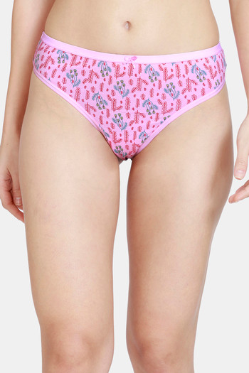 model image of Zivame Low Rise Cotton Thong - Pink Floral