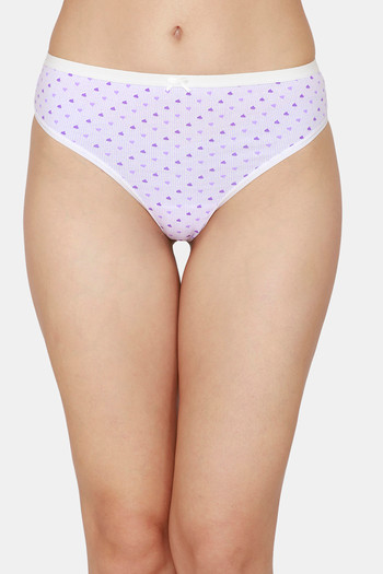 model image of Zivame Low Rise Cotton Thong - Purple Heart