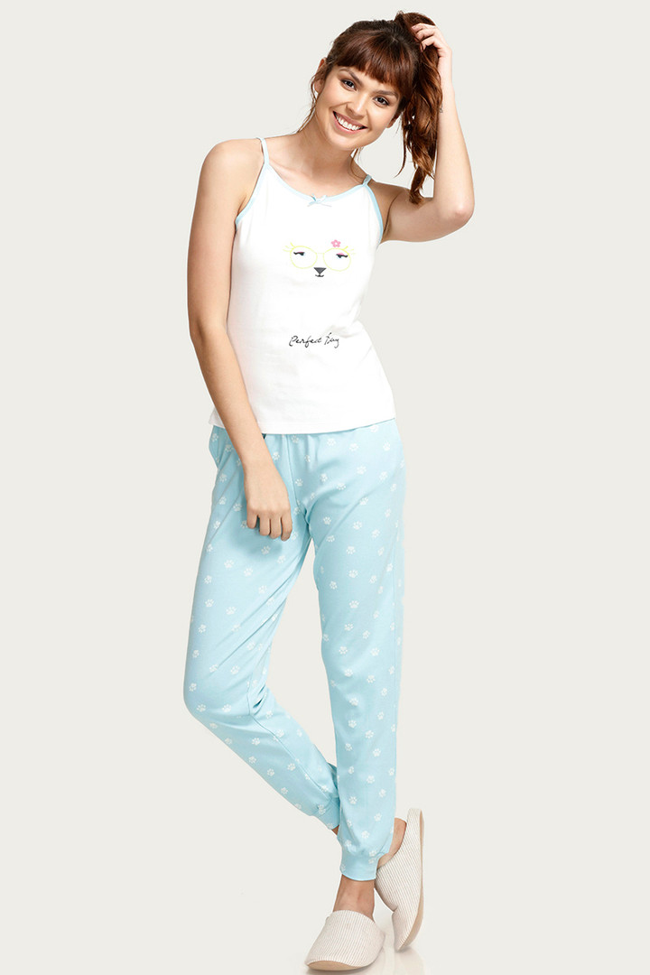 Crazy Farm Sleep Top n Pyjama Set- Blue n Cream thumbnail