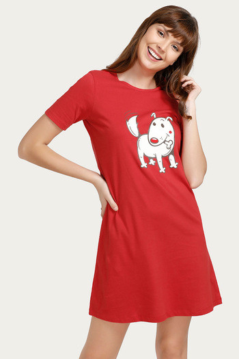 Crazy Farm Sleep Dress- Red thumbnail