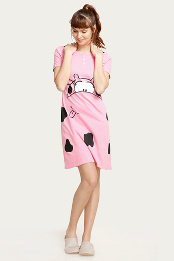 Crazy Farm Printed Sleep Dress- Pink thumbnail