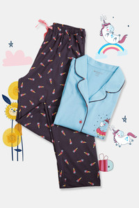 Buy Zivame GRL Unicorn Print Cotton Pyjama Set - Charcoal Grey
