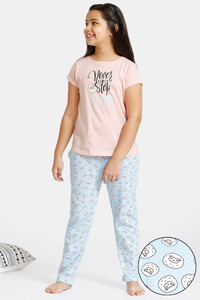 Buy Zivame GRL Knit Cotton Pyjama Set - Blue