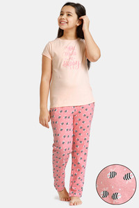 Buy Zivame GRL Knit Cotton Pyjama Set - Pink
