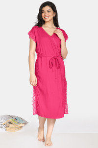 Buy Zivame Bridal Trousseau Polyester Mid Length Robe - Pink
