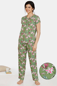 Buy Zivame Tree Of Life Rayon Pyjama Set - Green