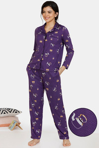 Buy Zivame Heritage Tribe Poly Elastane Pyjama Set - Purple