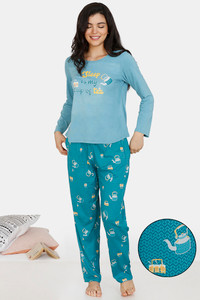 Buy Zivame Heritage Tribe Poly Elastane Pyjama Set - Blue
