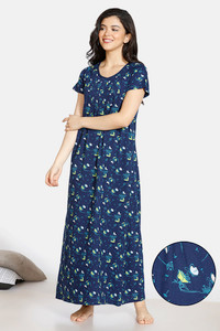 Buy Zivame Doodle Cotton Full Length Nightdress - Navy Blue