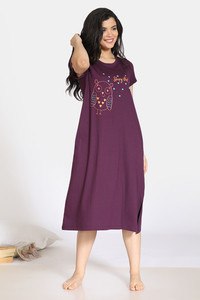 Buy Zivame Sleepy Owl Cotton Mid Length Nightdress - Purple