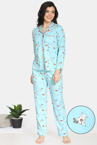 Buy Zivame Pretty Pigs Cotton Pyjama Set - Plume