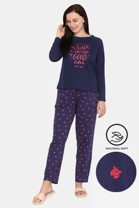 Buy Zivame Pretty Pigs Cotton Pyjama Set - Navy Blue