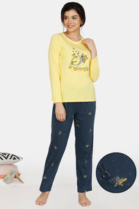 Buy Zivame Queen Bee Cotton Pyjama Set - Navy Yellow