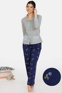 Buy Zivame Queen Bee Cotton Pyjama Set - Grey Navy