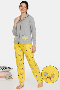 Buy Zivame Queen Bee Cotton Pyjama Set - Grey Yellow