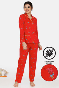 Buy Zivame Queen Bee Antiviral Finish Cotton Pyjama Set - Red