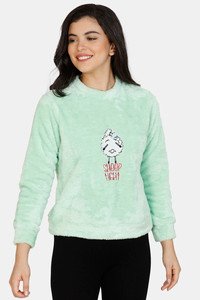 Buy Zivame Fluffy Fur Polyester Sweat-Shirt - Green