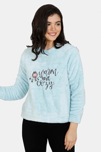 Buy Zivame Fluffy Fur Polyester Sweat-Shirt - Blue