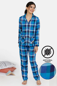 Buy Zivame Classic Woven Antiviral Finish Pyjama Set - Nebulas Blue