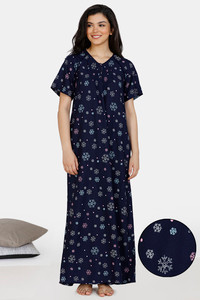 Buy Zivame Snowflakes Rayon Full Length Nightdress - Navy Blue