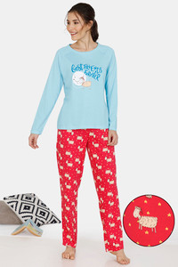 Buy Zivame Crazy Farm Cotton Pyjama Set - Red Blue