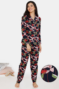 Buy Zivame Tree Of Life Rayon Pyjama Set - Navy Blue