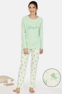 Buy Zivame Tree Of Life Cotton Pyjama Set - Yellow Green