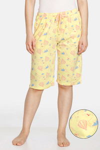 Buy Zivame Doodle Cotton Shorts - Mellow Yellow