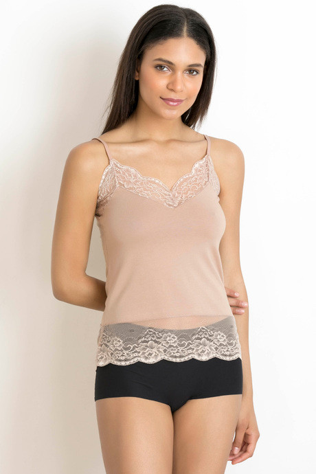 14294a1f8b Buy Zivame V-Neck Lacy Cotton Camisole- Skin at Rs.599 online ...
