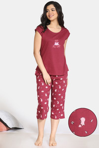 Buy Zivame Pretty Pigs Cotton Capri Set - Rhododendron