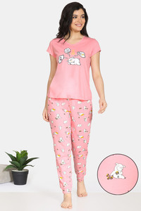 Buy Zivame Pretty Pigs Cotton Pyjama Set - Pink Ice