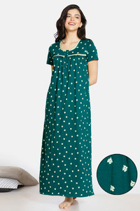 Buy Zivame Pretty Pigs Cotton Full Length Nightdress - Green