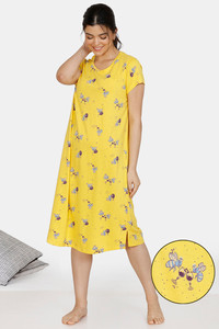 Buy Zivame Queen Bee Cotton Mid Length Nightdress - Yellow