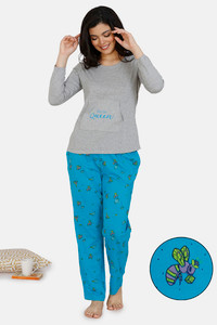 Buy Zivame Queen Bee Cotton Pyjama Set - Blue