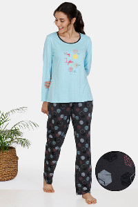 Buy Zivame In Rhythm Cotton Pyjama Set - Grey Blue