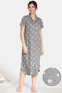 Buy Zivame Pretty Pigs Cotton Mid Length Nightdress - Wild Dove