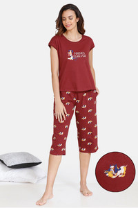 Buy Zivame My Besties Cotton Capri Set - Sundried Tomato