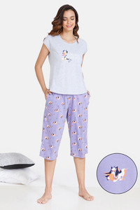 Buy Zivame My Besties Cotton Capri Set - Violet Tulip