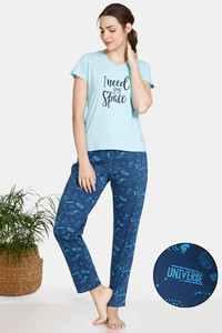 Buy Zivame Galaxy Print Cotton Pyjama Set - Navy Peony