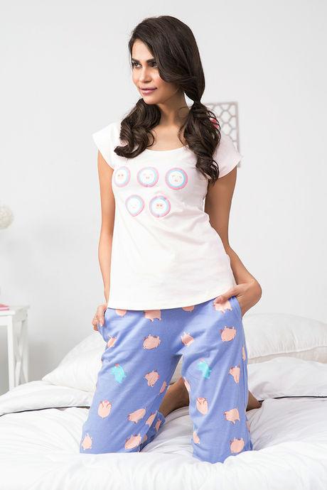 Zivame Pretty Pig Sleep Top N Pyjama Set- Pink N Blue- Buy 1 Get 1